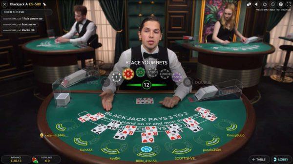 Live Blackjack van Evolution Gaming